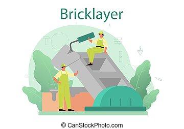 pared, albañil, profesional, concept., ladrillo, construir, constructor