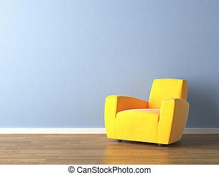 pared azul, sillón, amarillo, diseño, interior