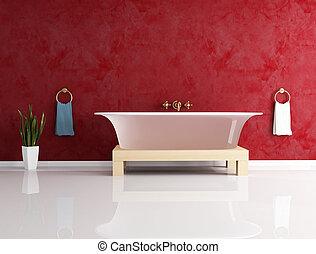 pared, bathtube, moda, estuco, contra