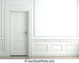 pared, blanco, puerta, clásico