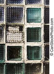 pared, bloque, viejo, vidrio, textura
