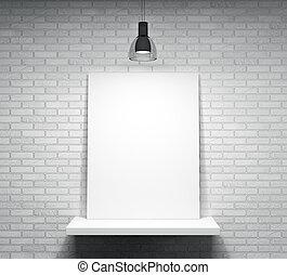 pared, cartel, encima, ladrillo, estante