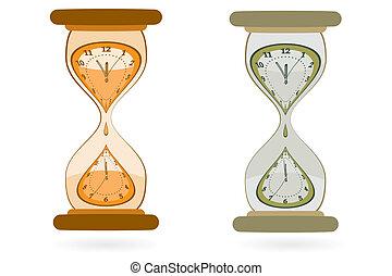 pared, clocks, reloj de arena