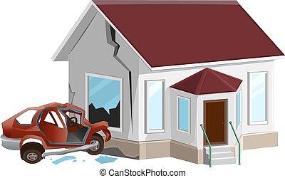 pared, coche, crash., automóvil, chocado