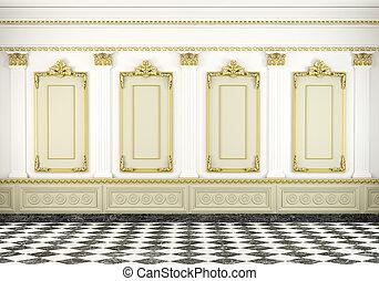 pared, dorado, clásico, plano de fondo, moldura