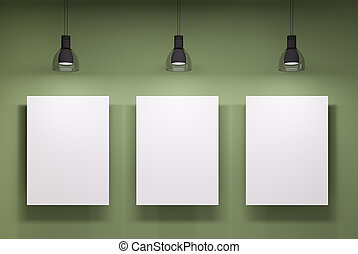 pared, encima, whiteboards, verde, tres