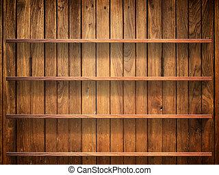 pared, estante, madera