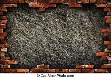 pared, grungy, ladrillo, marco