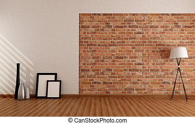 pared, habitación, vacío, ladrillo