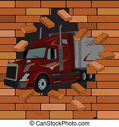 pared, ilustración, vector, camión, venida, ladrillo, grieta