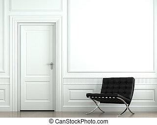 pared, interior, silla, diseño, clásico