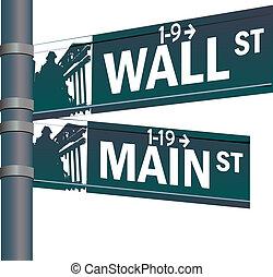 pared, intersección, calle principal, vector