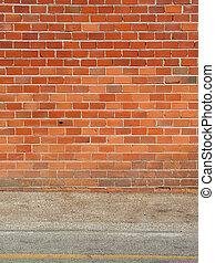 pared, ladrillo, acera