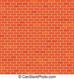 pared, ladrillo, rojo