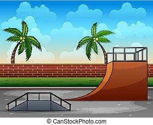 pared, ladrillo, skatepark, caricatura