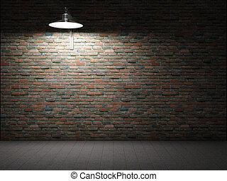 pared, ladrillo, sucio, iluminado
