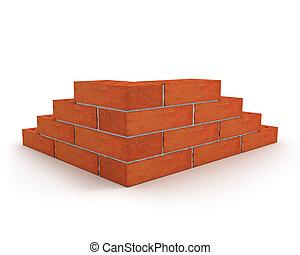 pared, ladrillos, hecho, esquina, naranja