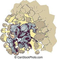 pared, mascota, rinoceronte, por, chocar