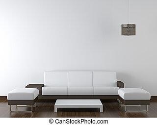 pared, moderno, diseño, interior, blanco, muebles