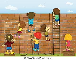 pared, montañismo, niños