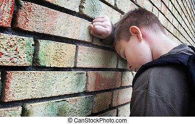 pared, niño, trastorno, contra