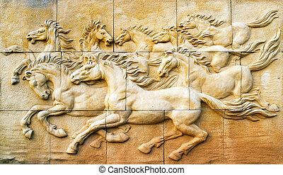 pared, piedra, escultura, caballo