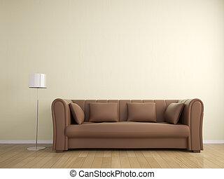 pared, sofá, color, lámpara, beige, interior, muebles