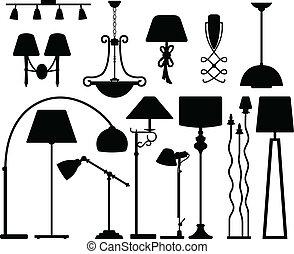 pared, techo, diseño, lámpara, piso