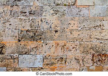 pared, textura, ashlar, menorca, stonewall, castillo, albañilería