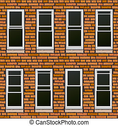 pared, withl, ladrillo, windows., seamless