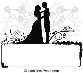 pareja, boda, siluetas
