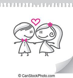 pareja, caricatura, boda