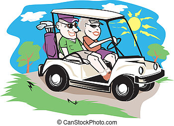 pareja, carro del golf