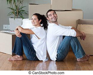 pareja, casa, mudanza, joven