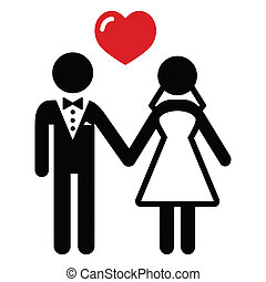 pareja, casado, boda, icono