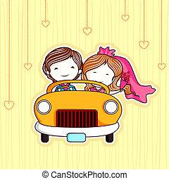 pareja, casado, sólo