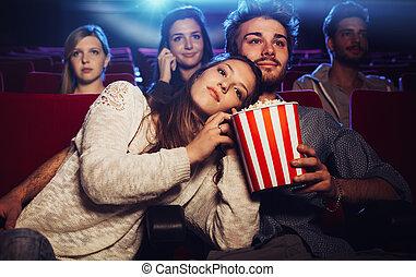 pareja, cine, joven
