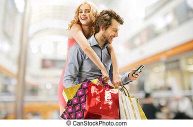 pareja, compras, encantado