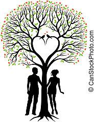 Pareja con árbol de corazón, vector