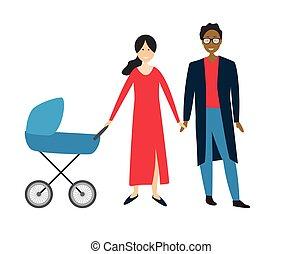 Pareja con bebé en un cochecito. Ilustración de vectores