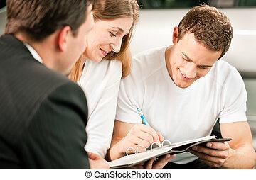 pareja, contrato de firma, ventas