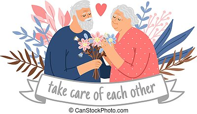 pareja, cuidado, abuelos