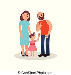 Pareja de familia sonriente y su pequeña hija, feliz concepto familiar vector ilustración en un fondo blanco