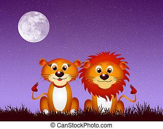 Pareja de leones a la luz de la luna