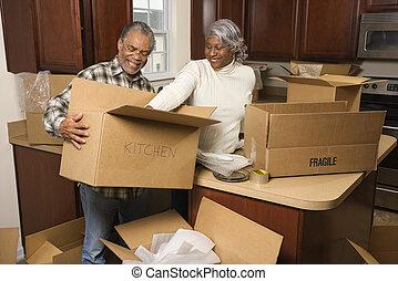 pareja, embalaje, boxes.