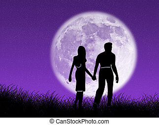 Pareja en la luna