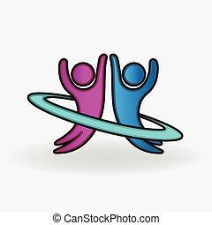 pareja, feliz, gente, logotipo, bailando