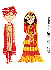 pareja, indio, boda