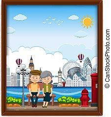 pareja, londres, viejo, marco, imagen, viajar