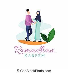 pareja, moderno, diseño, kareem, ayuno, ramadan, plantilla, plano, concepto, musulmán